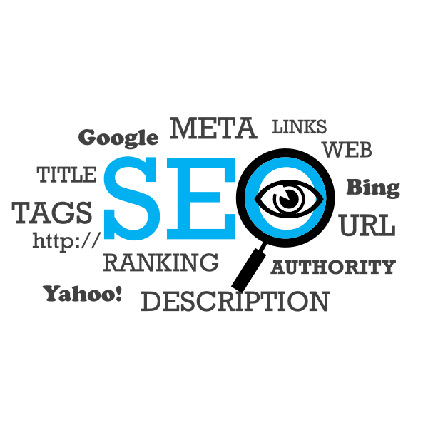 Vector image of search engine optimization word cloud typography