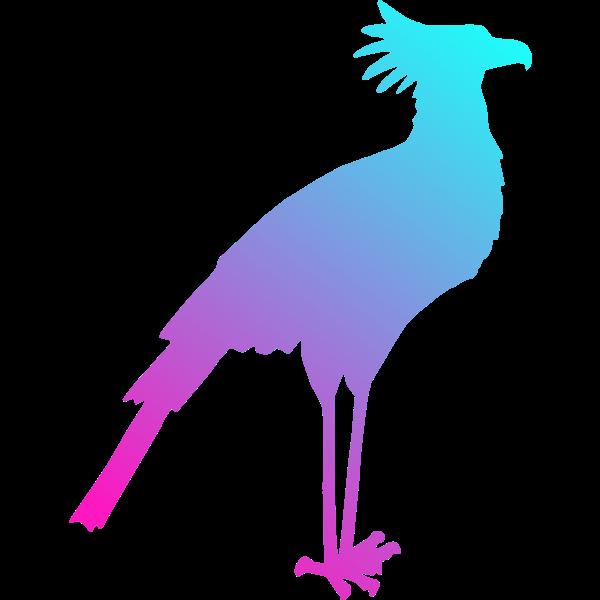 Image of colored secretary bird silhouette