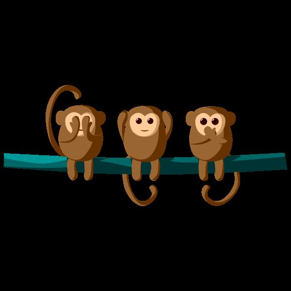 Three cartoon monkeys
