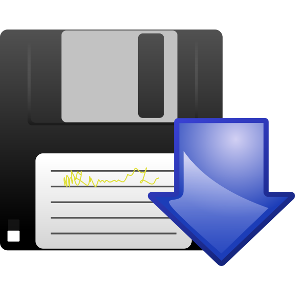 Floppy disk download vector icon