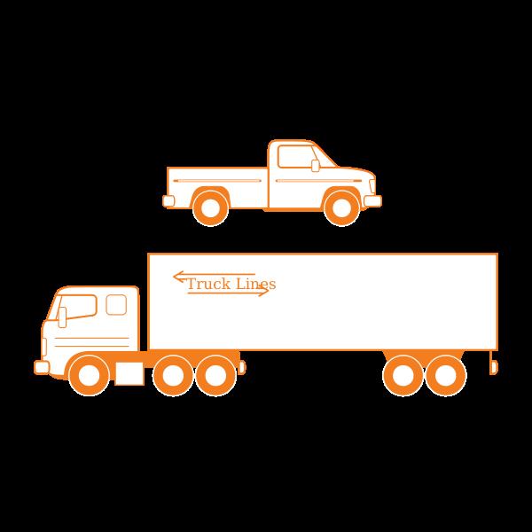 Semi and pickup trucks vector illustration