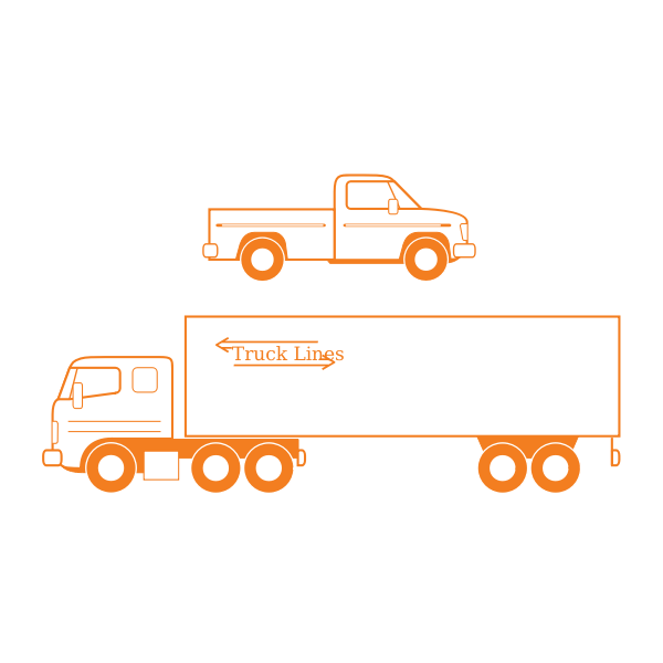 Semi and pickup trucks vector illustration