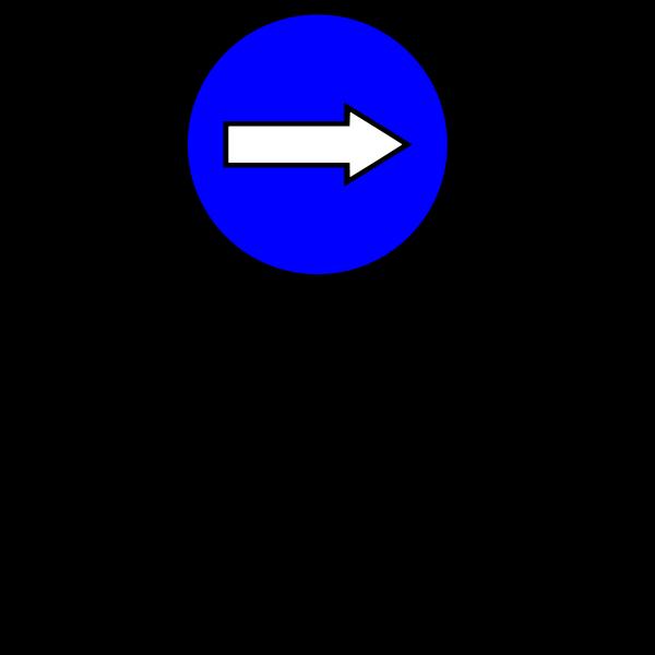 Blue traffic symbol