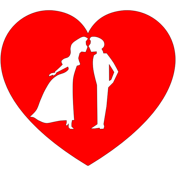 Vector drawing of couple in heart