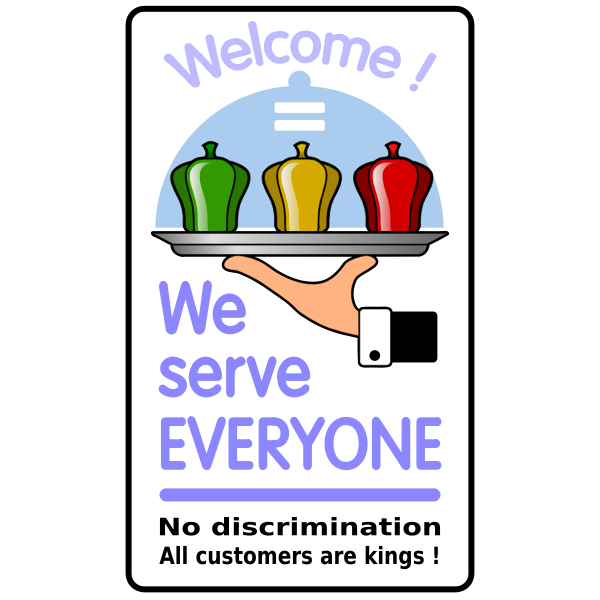 """We serve everyone"" poster vector"