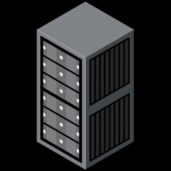 Isometric server cabinet vector graphics