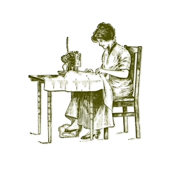 Vector illustration of vintage woman sewing on an old machine
