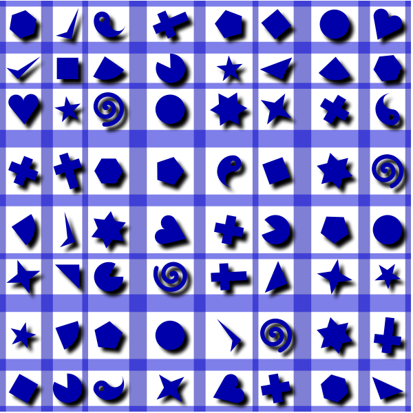 Shapes pattern in blue
