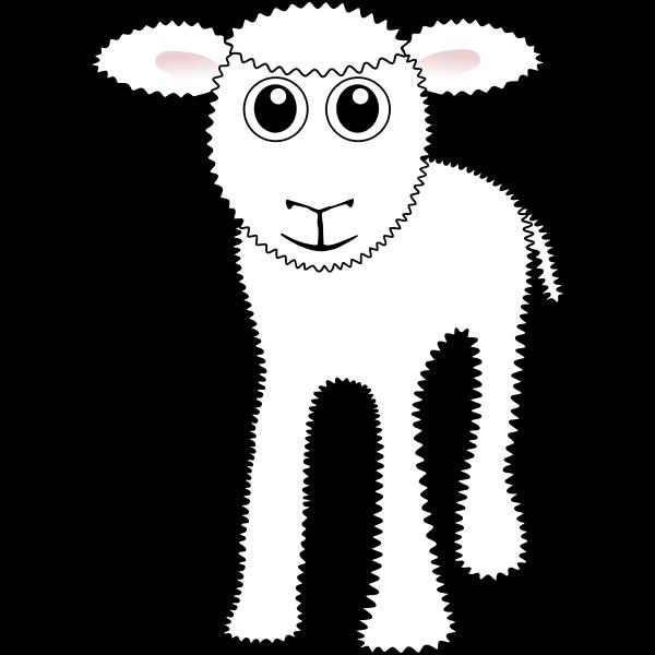 Funny white lamb vector clip art
