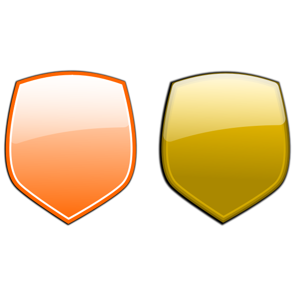 Yellow and orange shields vector clip art