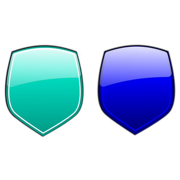Green and blue shields vector image