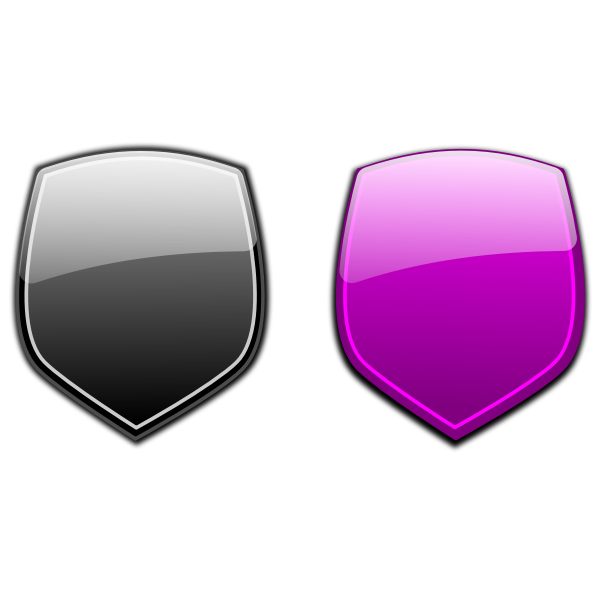 Black and purple shields vector graphics