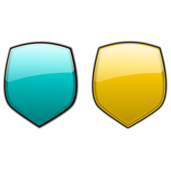 Blue and yellow shields vector image