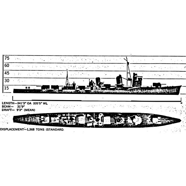Shigure Battleship Monochrome Drawing