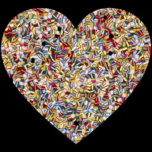 Shimmering Iridescent Mosaic Tiles 2 Heart