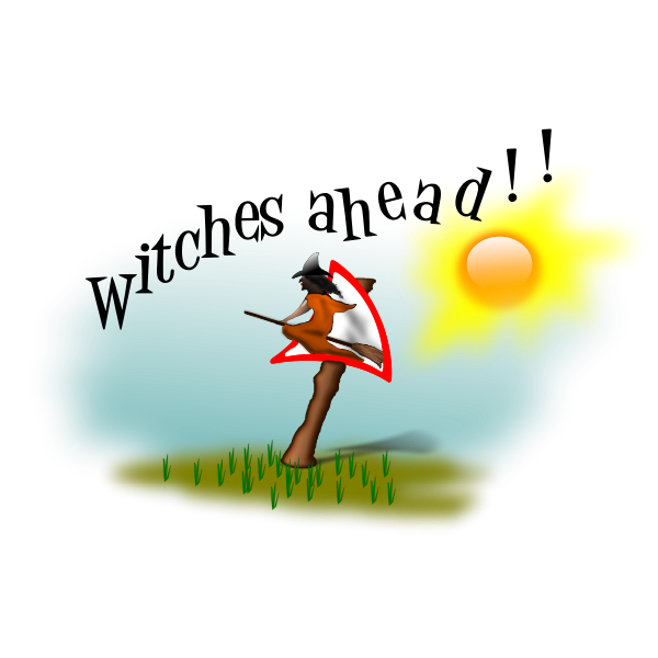 Vector illustration of witch ahead signpost.