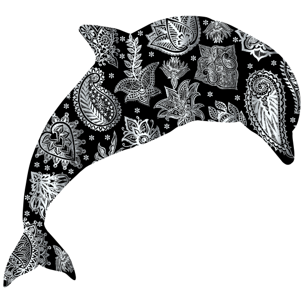 Silver Floral Pattern Dolphin