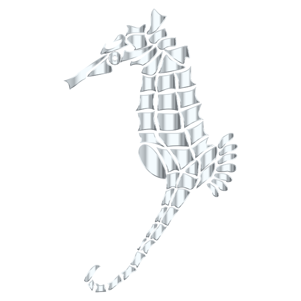 Silver Stylized Seahorse Silhouette No Background