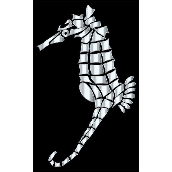 Silver Stylized Seahorse Silhouette