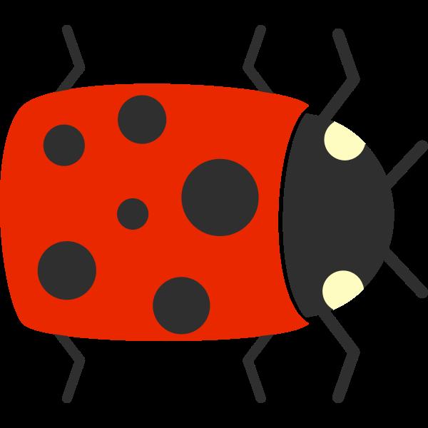 Vector graphics of cartoon ladybug closeup