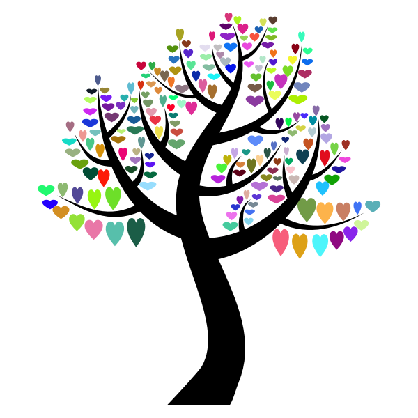 Tree and colorful hearts