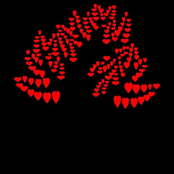 Red hearts tree