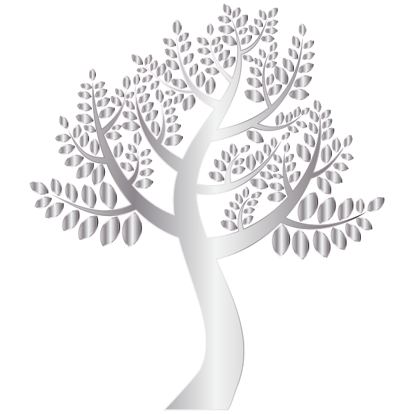 Simple Silver Tree Without Background