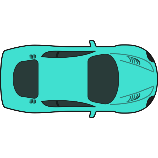 Turquoise racing car vector drawing