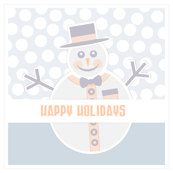 Snowman Happy Holidays greeting card vector image