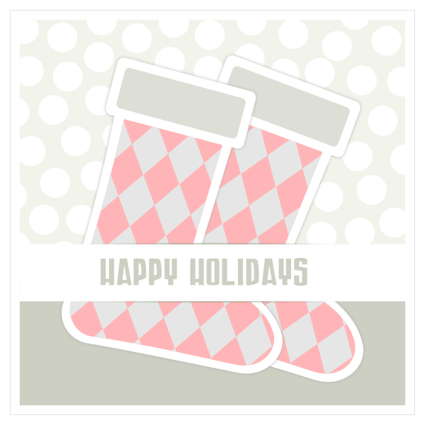 Vector image of two Christmas stockings on a greeting card