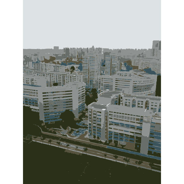 Singapore from high floor condo vector illustration