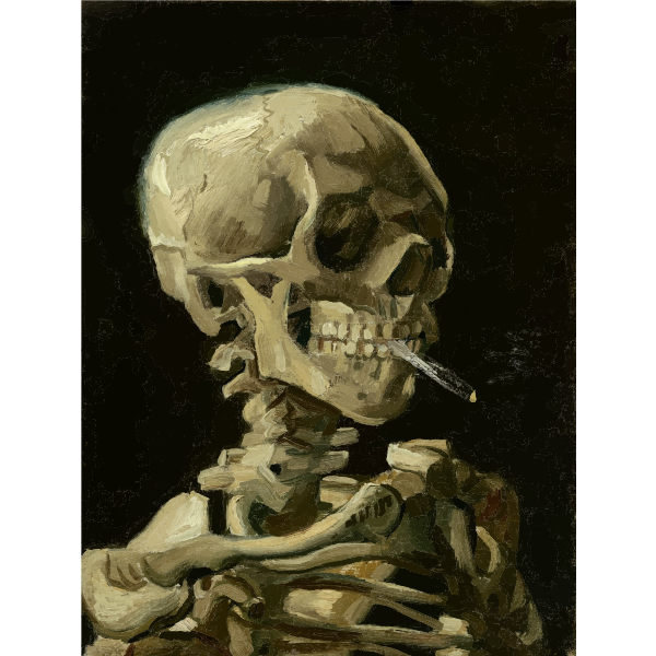 Skeleton With Burning Cigarette  Vincent Van Gogh