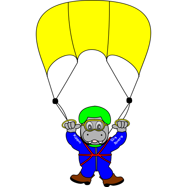 Skydiver hippo vector image