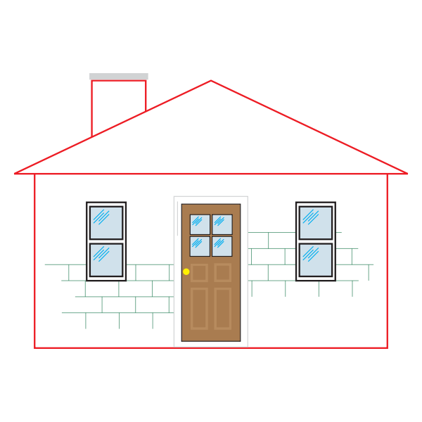 Small house with a red outline vector illustration