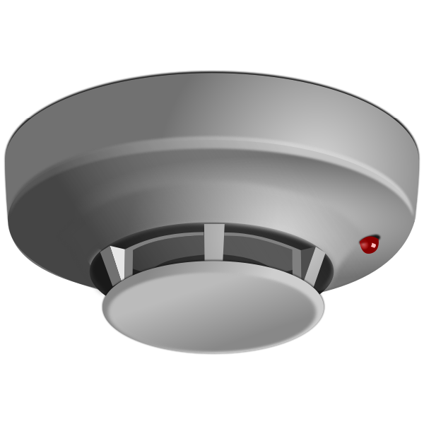 Grayscale smoke detector vector drawing