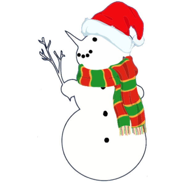 Snowman with branch