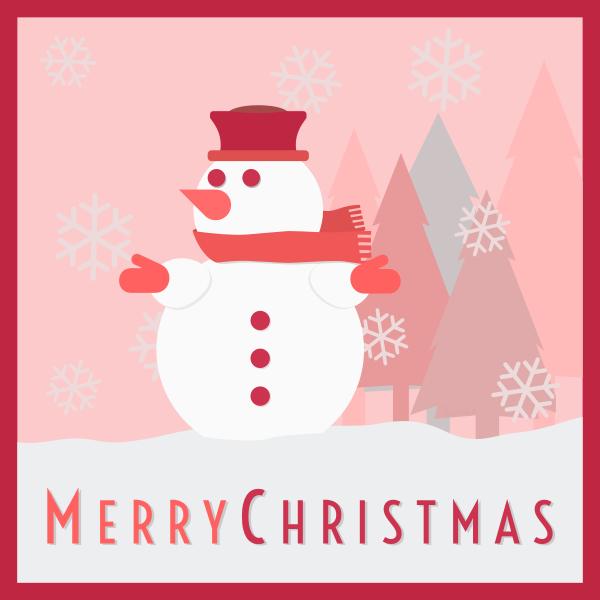 Snowman greeting card vector illustration