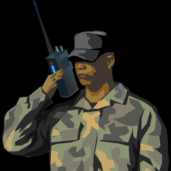 Soldier with walkie talkie radio vector drawing