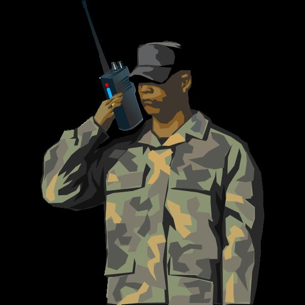 Soldier with walkie-talkie radio vector image