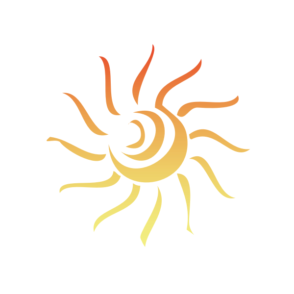 Vector illustration of swirling daytime sun