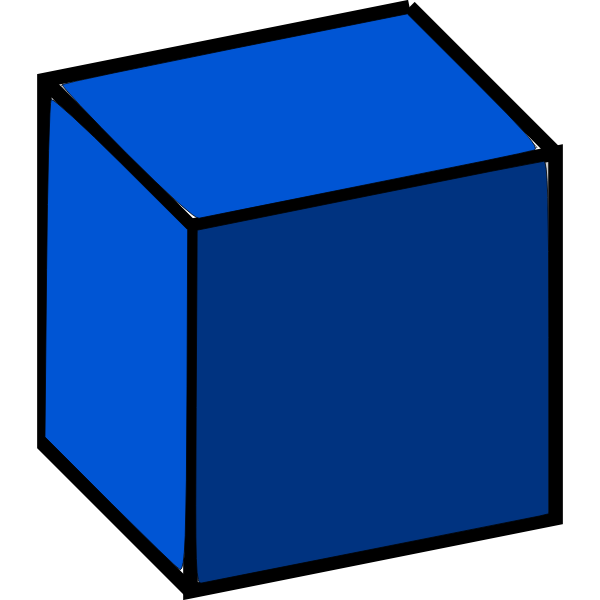 3d cube blue color
