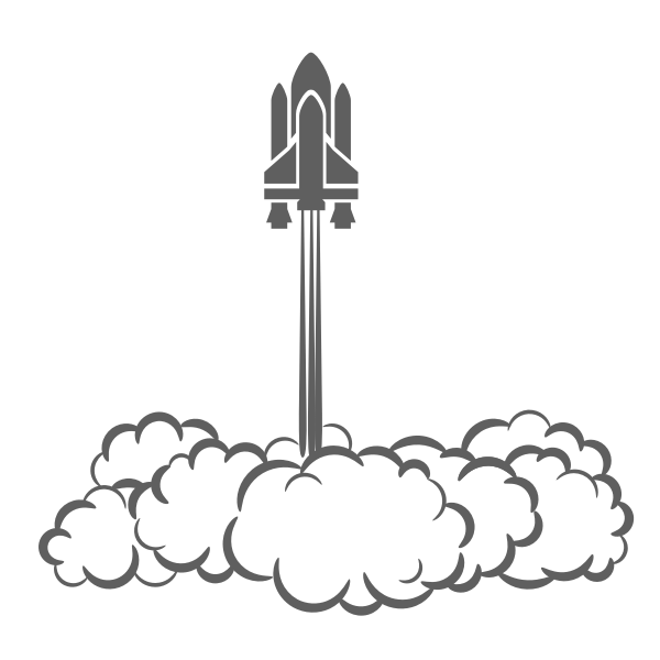 Space shuttle taking off vector drawing