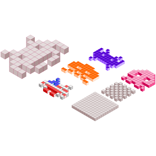 Space Invaders 3D blocks vector image