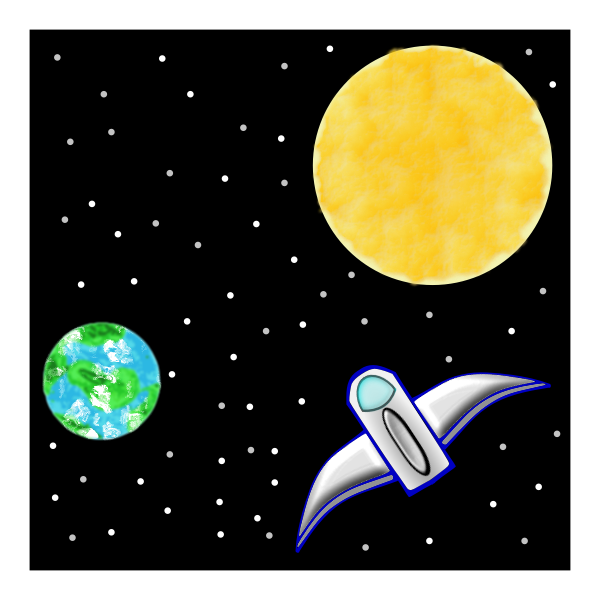 Vector clip art of spaceship between Earth and Sun | Free SVG