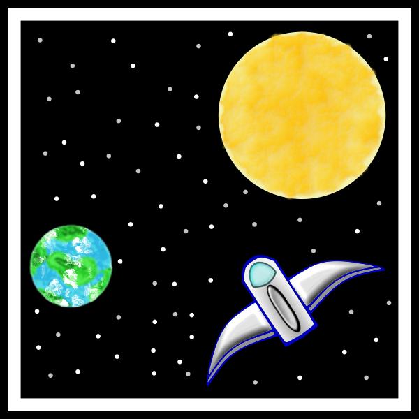Vector clip art of spaceship between Earth and Sun