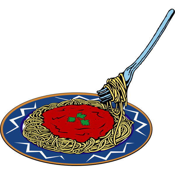 Vector clip art of spaghetti and sauce serving