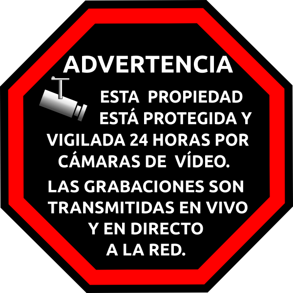 Spanish security surveillance sticker vector image