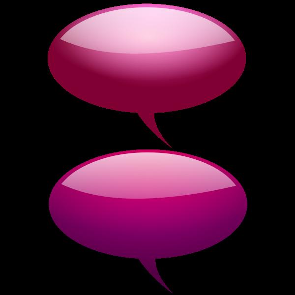 Pink and purple speech bubbles vector clip art