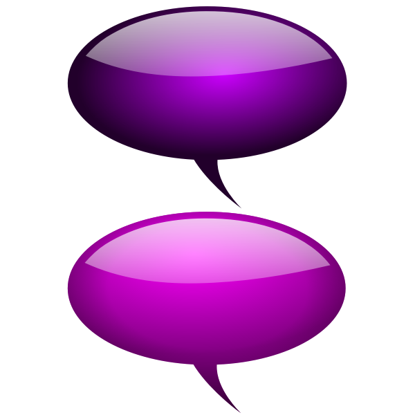 Purple speech bubbles with reflections vector drawing