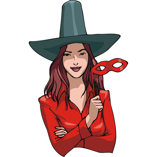 Woman in witch costume vector drawing